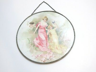Vintage Stove Pipe Flue Cover Of 3 Victorian Children 9 1/2""