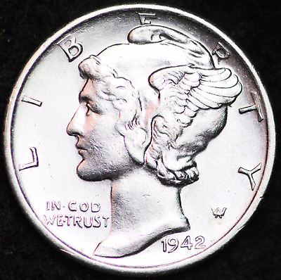 1942-S Au Mercury Dime / San Francisco Mint Almost Uncirculated 90% Silver Coin