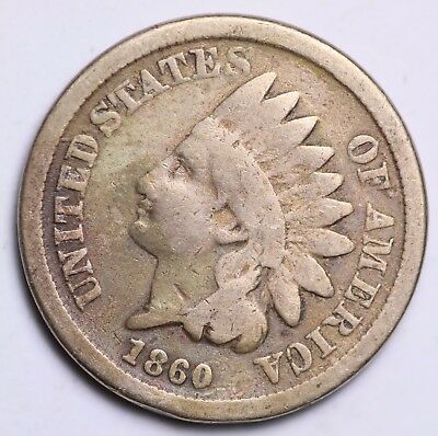1860 Indian Head Cent Penny / Circulated Grade Good / Very Good 88% Copper Coin
