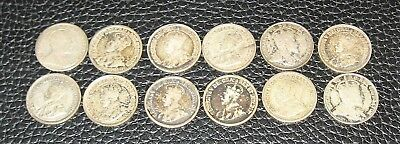 12 OLD SILVER CANADIAN 5 CENT PIECES, Avg. Circ.+