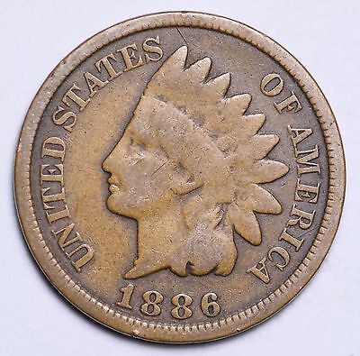1886 Indian Head Cent Penny Type 2 / Circulated Grade Good / Very Good Coin