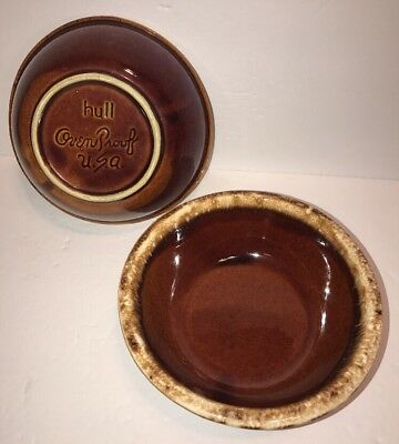Set Of 2 Vintage Hull Pottery Oven Proof Brown Drip Cereal Salad Soup Bowls