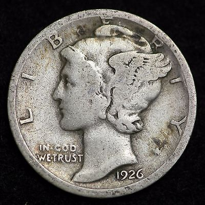 1926-D Mercury Dime / Circulated Grade Good / Very Good 90% Silver Coin