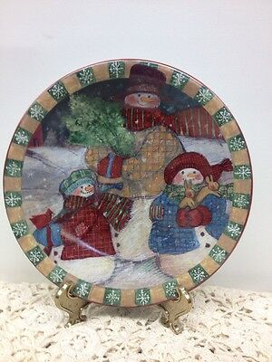 "Certified International Susan Winget Snowman Plate 8"" Holiday Christmas Snow"