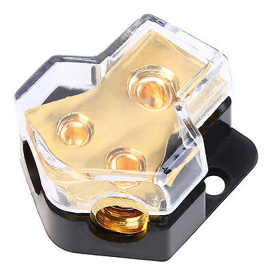 Car Boat Audio Stereo Distributor Block 1 in 2 out Copper 5 AWG out Universal
