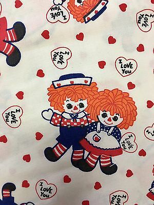 Vintage Heavy Cotton Raggedy Ann And Andy Fabric 1 1/2 Yards