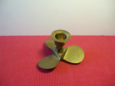 Used Vintage Solid Brass Propeller Nautical Taper Candle Holder