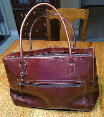 Pre-Owned Fossil Brown Leather Briefcase / Laptop Tote Bag