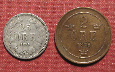 1875/74 Sweden 2 Ore & 25 Ore Coins - The 2 Ore Is A Nice High Grade Example!