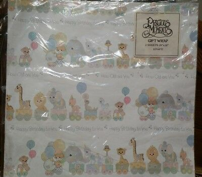 Vtg Precious Moments Happy Birthday 2 Sheets Gift Wrap Paper Sealed Animals NOS