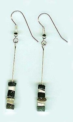 Ancient Assyrian 3,000 BC Semi-Precious Agate Gemstone Sterling Silver Earrings