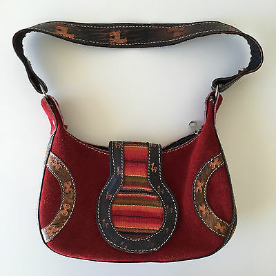 Small Peruvian Ethnic Suede and Leather Purse - Handbag - Boho - Festival