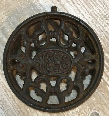 Antique Vintage Wesco Cast Iron Wood Stove Top Burner Cover Plate Lid 6 3/4""