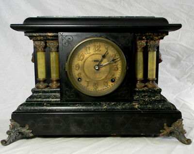 Mantle Clock-Seth Thomas Adamantine -Marbelized Green