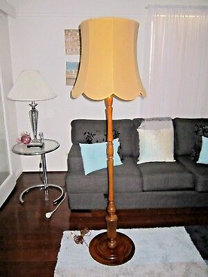 Vintage Art Deco Retro Timber Standard Floor Lamp With Scalloped Gold Shade