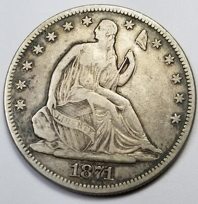 1871-P $1 Liberty Seated Silver Dollar   Genuine - Au Details