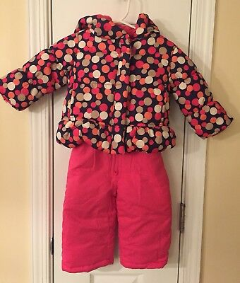 Nwt Oshkosh B'gosh Baby Girls Pink Navy Polka Dot 2 Pc Snowsuit Coat Pants 12 Mo