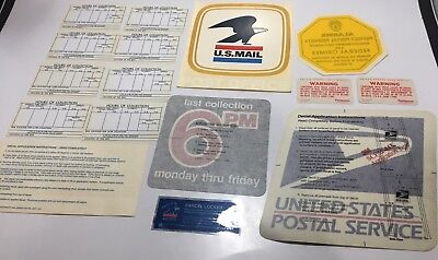 Vintage Lot Of US Mail Post Office Stickers & Collection Hrs Cards