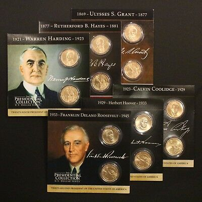 2011, 2014 P+D Presidential Dollars 12 Coin Set with Historic Brochure NICE LOT