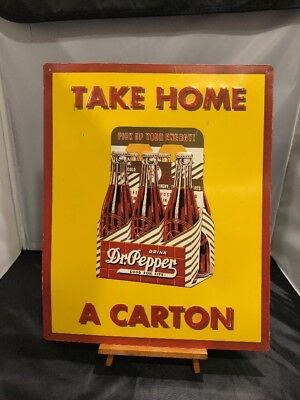 1993 Dr. Pepper, Take Home A Carton metal tin advertising sign (grt cond)
