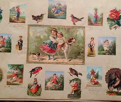 100's of German Die-Cut Chromolithographs album all kinds, rare, 36 pages