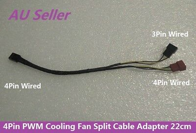 Coolermaster 4Pin PWM Case Cooling Fan Y Split Cable Extension Cord 22cm Spare