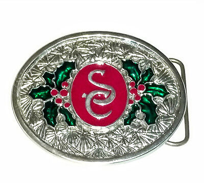 Santa Billy Exclusive Pewter SC Initials Christmas Belt Buckle for 1 1/2in Belt