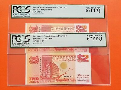$2 X 2 1990 Singapore Commissioners of Currency Superb Gem PCGS67