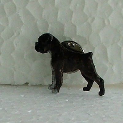 Boxer Brindle No Tail Lapel Pin Dog Breed Jewellery Handcrafted Handpainted