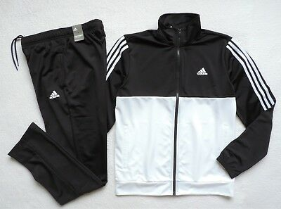 Adidas Men's Athletics Basics 3-Stripes Track Suit 2-Piece, Black/White