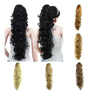 Women Curly Wavy Synthetic Hair Ponytail Clip On Extension Claw Pony Tail Pieces