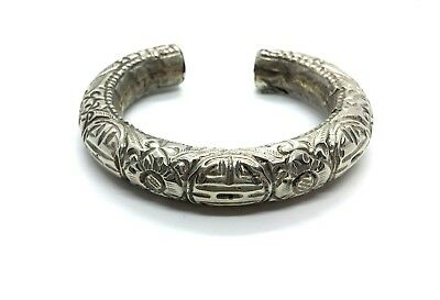 Antique Sterling Silver Ci 1900 Ethnic Shan Chinese Repousse Cuff Bracelet