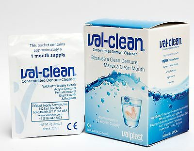Val-Clean Concentrated Denture Cleaner ~ Box 12 Sachets 1 Year Valplast Cleaning