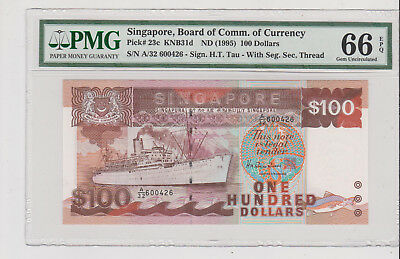 Singapore ND(1995) 100 Dollars ship series P-23c PMG 66EPQ super strong embossin