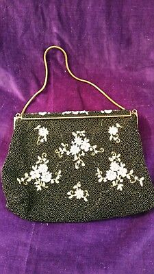 Vintage French Seed Beaded Bag