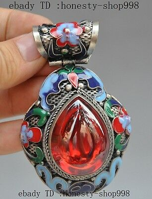 Collect Exquisite tibet silver Cloisonne Enamel Inlay red Gem flower pendant