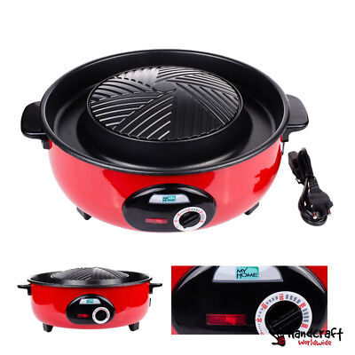 "12"" BBQ ELECTRIC PAN STOVE Grill Shabu Soup Non-Stick Skillet THAI KOREA 2 in 1"