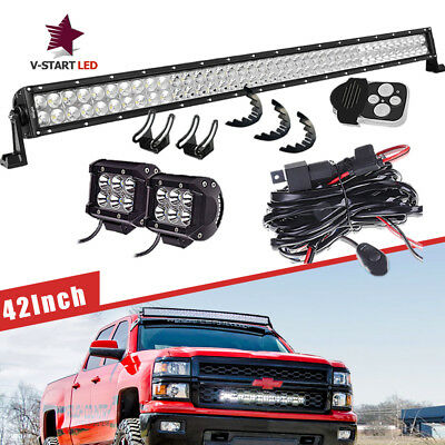"40"" LED Light Bar+CUBE PODS+Rubber Isolator+Wire Grille For Chevrolet Suburban"