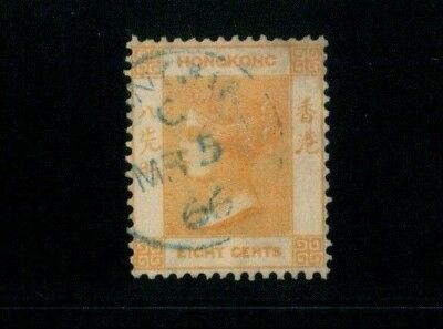 ( HKPNC ) HONG KONG 1863 QV 8c SHANGHAI TYPE A CDS IN BLUE INK,SMALL THIN SCARCE