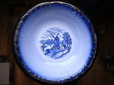 Antique China Delft Blue Serving Bowl, Gold Guilded, windmill scene 100+ yrs old