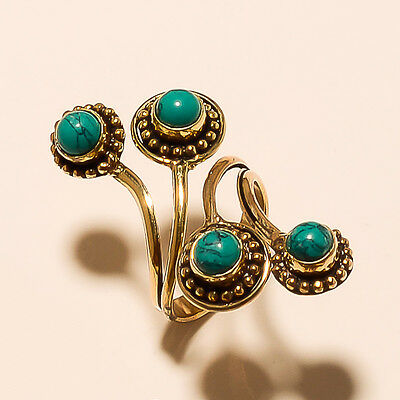Turquoise Tibetan Silver Vintage Solid Brass Ring Jewellery E2677