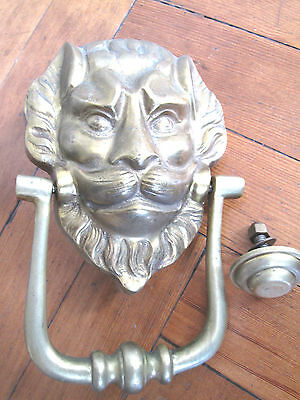Large Vintage Solid Brass Lion Face Door Knocker