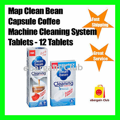 12 Tablets Map Clean Bean Capsule Coffee Machine Cleaning System Pod eBC