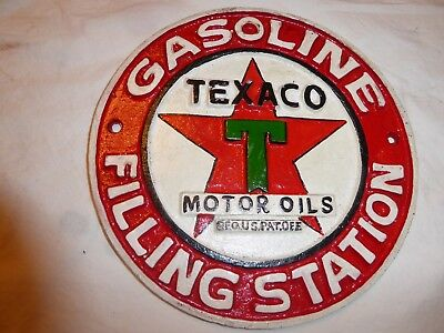"Cast Iron Texaco Gasoline Filling Station Motor Oils 8"" Round"