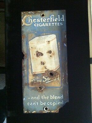 1920s CHESTERFIELD CIGARETTES PORCELAIN DOOR PUSH ADVERTISING SIGN
