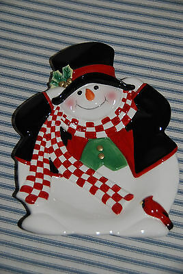 9 Inch Fitz and Floyd Snowman Plate -- Winter Christmas Decoration