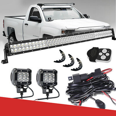 "40""LED Light Bar+CUBE PODS+Rubber Isolator+Wire Behind Grille For GMC HEAVY DUTY"