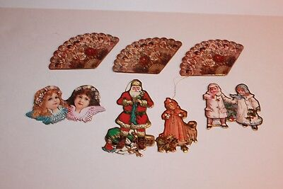 Lot Of 7 Vintage Commodore Die Cut Paperboard Christmas Ornaments