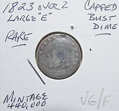 Scarce...1823 Over 2,  Dime (Capped Bust)****VG Or So Details***