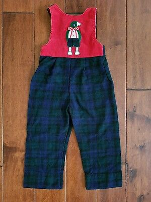 Vintage Ruth SCHARF For Boys Plaid Penguin Romper Jumpsuit 3T Made In U.S.A